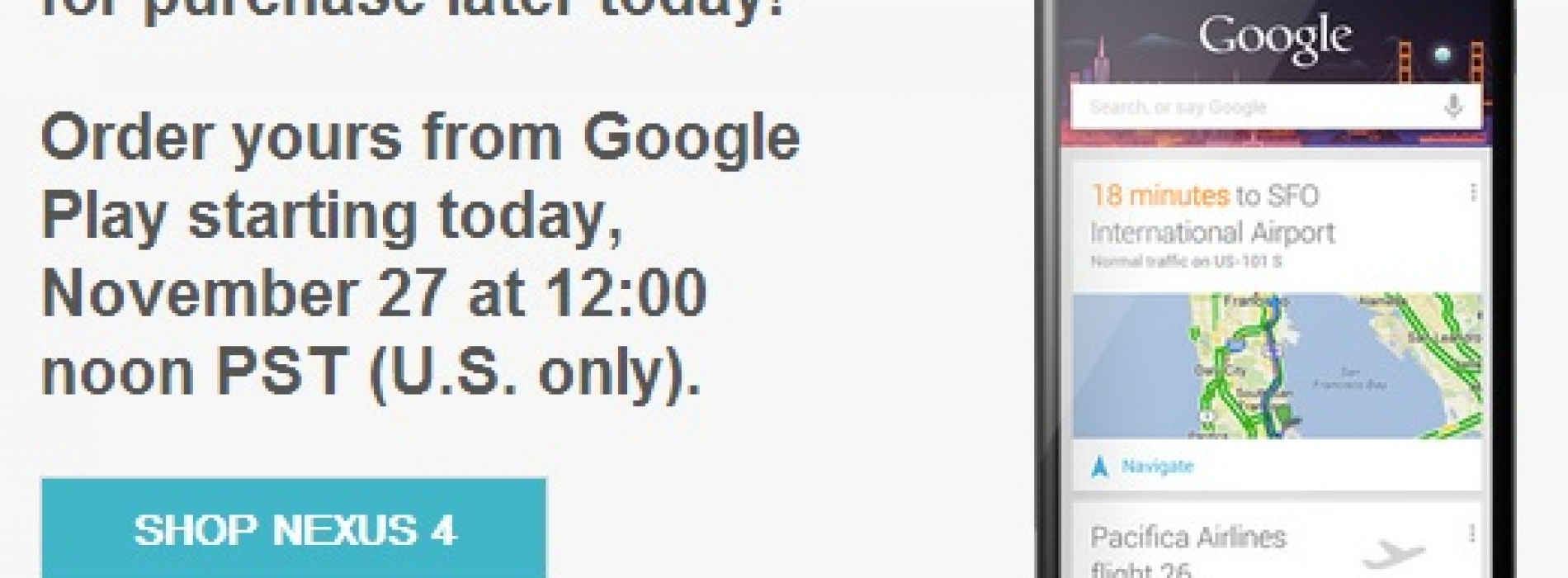 Nexus 4 to go back on sale in the US at 12PM PST today