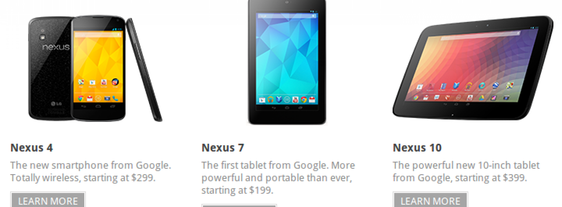 Nexus 4, Nexus 10 arrive in Google Play store