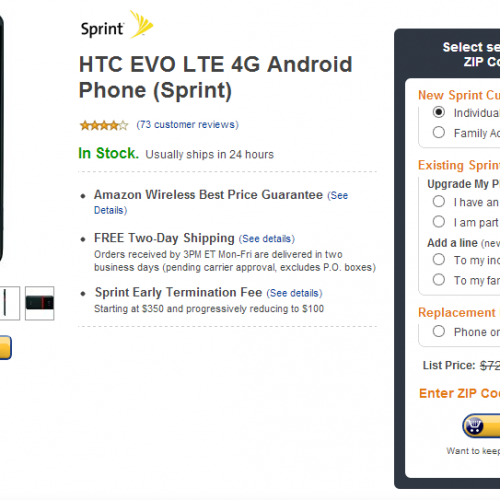 HTC EVO 4G LTE for $0.01 at Amazon Wireless