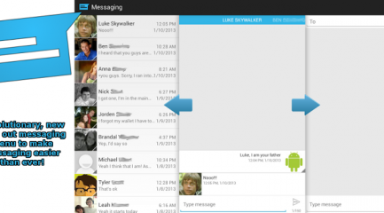 Sliding messaging feature