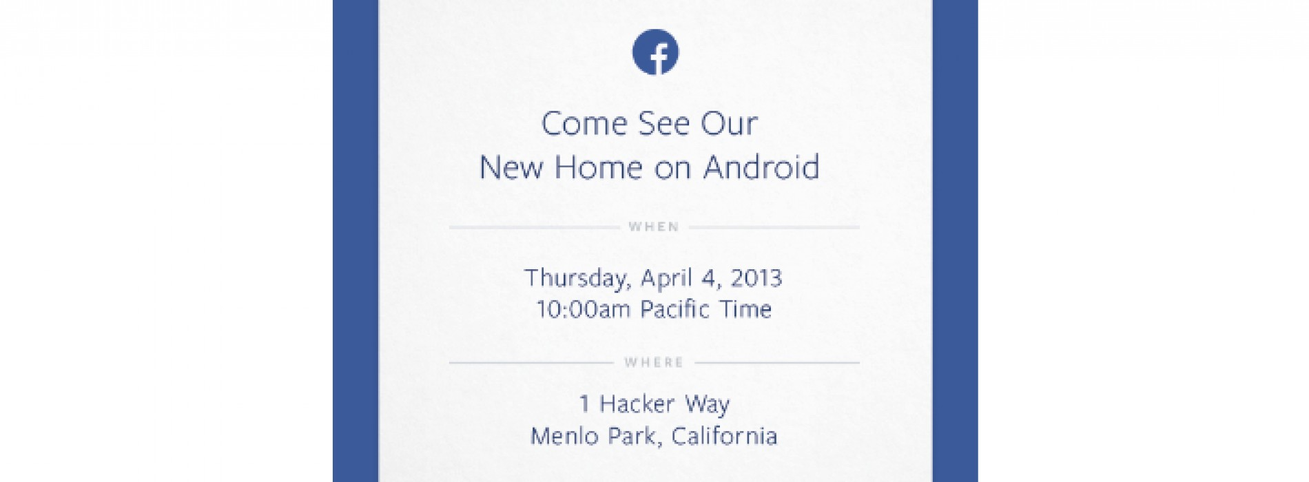 "Facebook invites us to see their ""new home on Android"" next week"