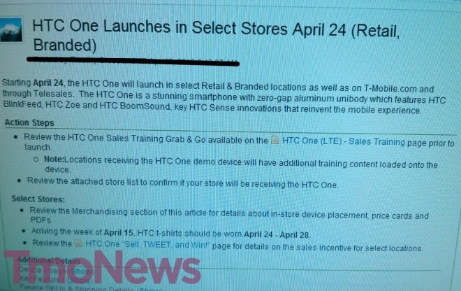 HTC One T Mobile Email