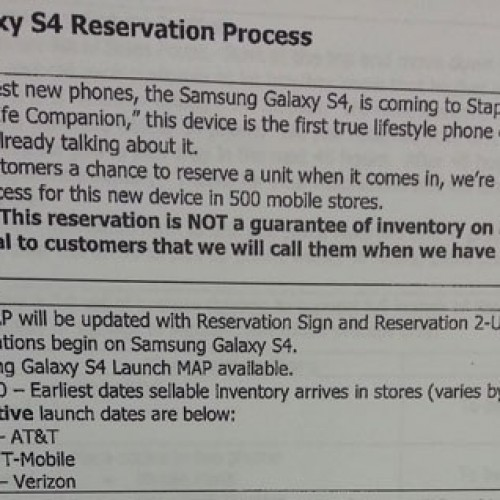 Leaked document shows Galaxy S4 may come to AT&T April 26, followed by T-Mobile and Verizon