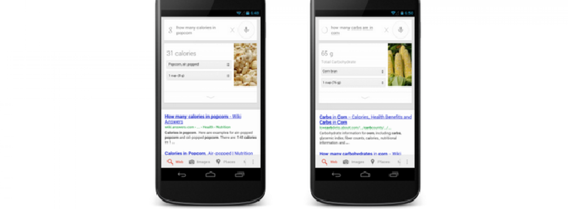 Google adds nutrition info cards to Google Now