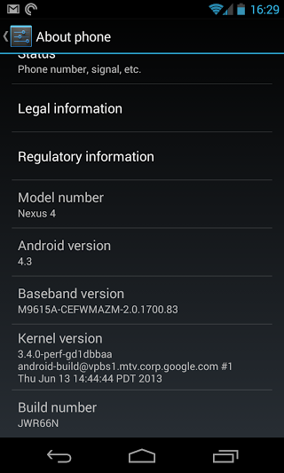Android 4.3 screenshot