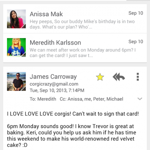 Gmail app gets card interface, improved conversation threads