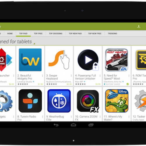 Change to tablet version of Google Play Store slated for November 21