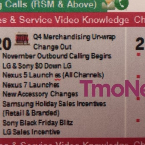 T-Mobile to offer Nexus 5 in retail stores on November 20, leak suggests