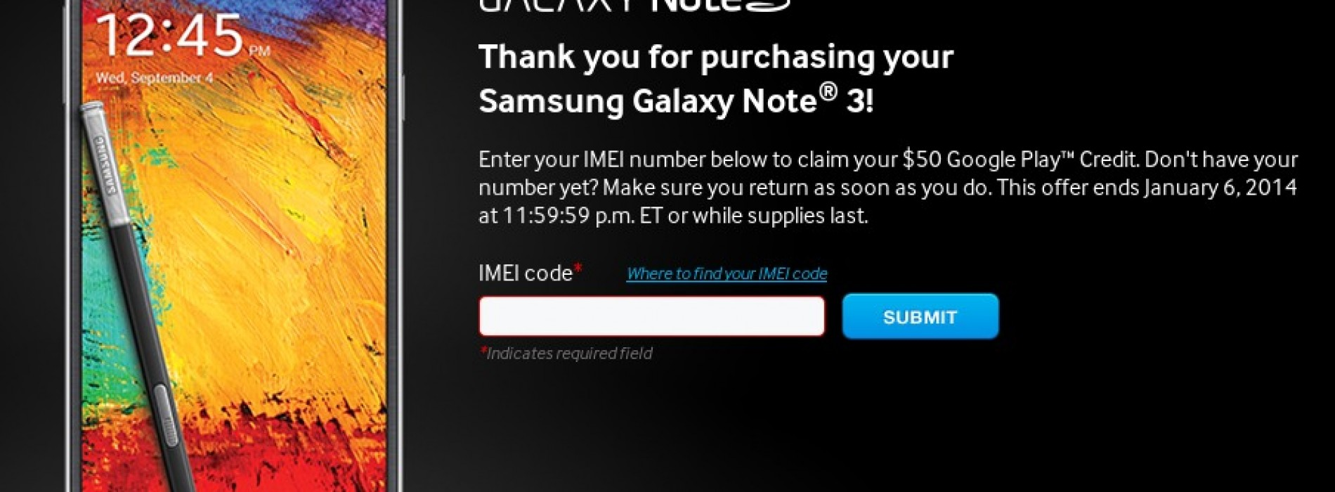 Samsung offering U.S. residents $50 Google Play credit with Galaxy Note 3 purchase