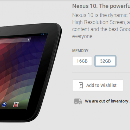 UPDATE x2: Nexus 10 out of stock on Google Play