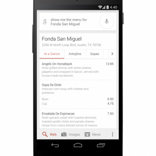 Google brings restaurant menus to search