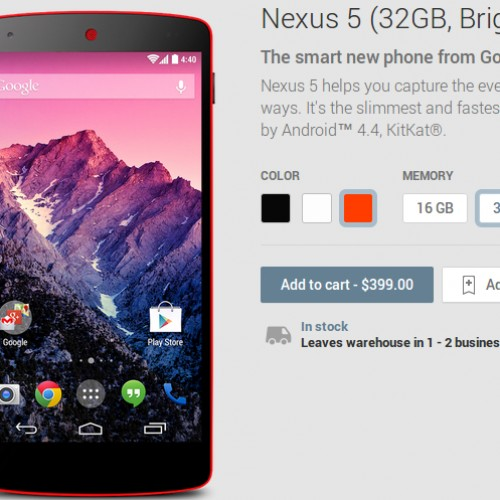 Red Nexus 5 officially in the Google Play Store