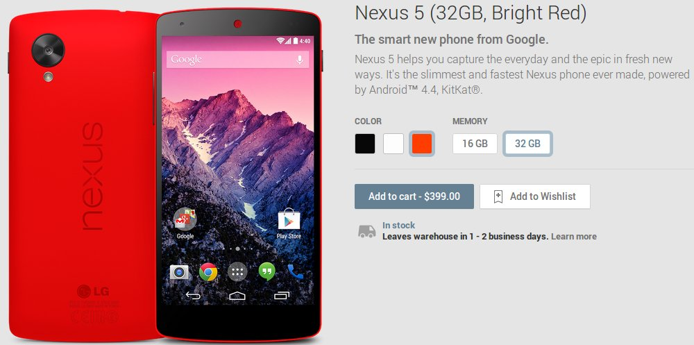 Red Nexus 5 Google Play