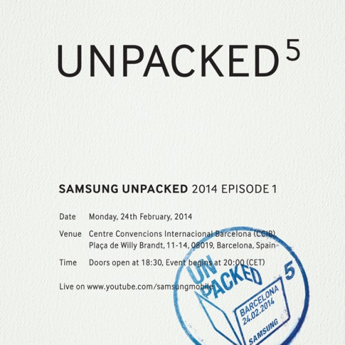 Samsung schedules February 24 Unpacked event for Galaxy S5