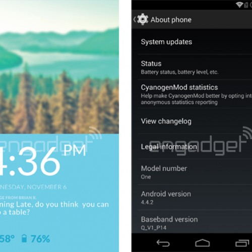 First screen grabs of Cyanogenmod 11S leak for OnePlus One