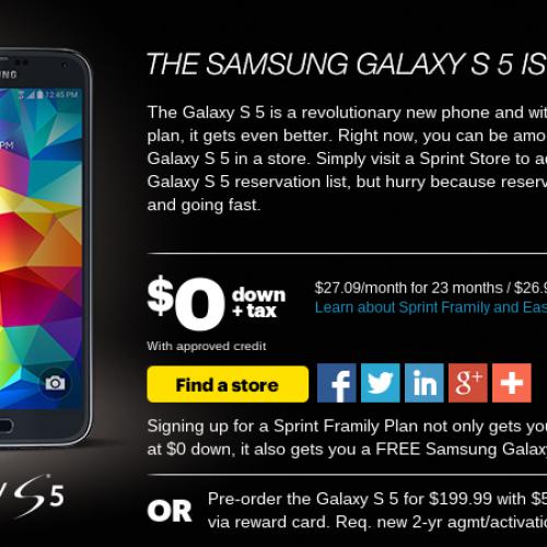 Sprint circles April 11 for Samsung Galaxy S5