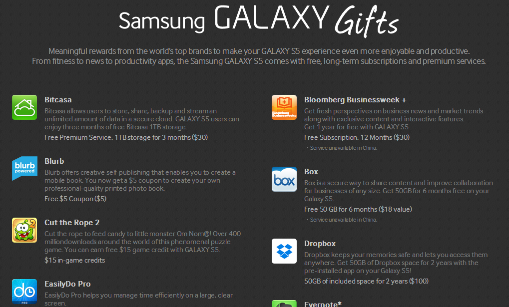 Just got your Galaxy S5? Don\'t forget about your FREE GIFTS!