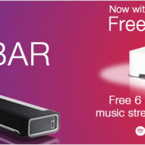 Free Sonos BRIDGE and 6-Month Spotify Subscription When You Buy a Sonos PLAYBAR