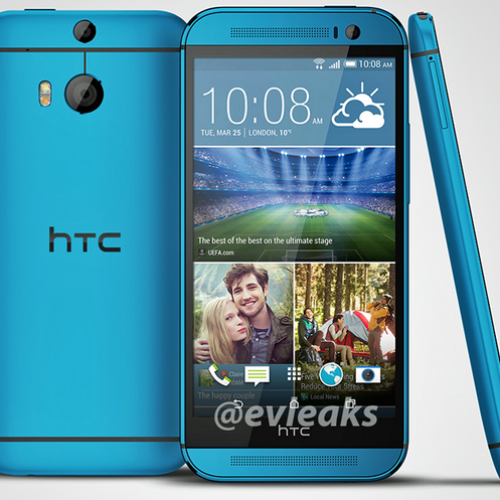 Blue HTC One (M8) shows its face in a leaked render