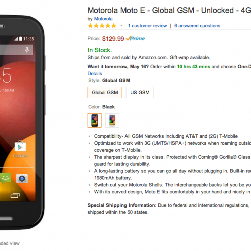 Moto E Global GSM available on Amazon, US GSM for preorder