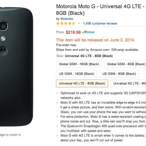 "Motorola Moto G with ""Universal 4G LTE"" available for pre-order on Amazon"