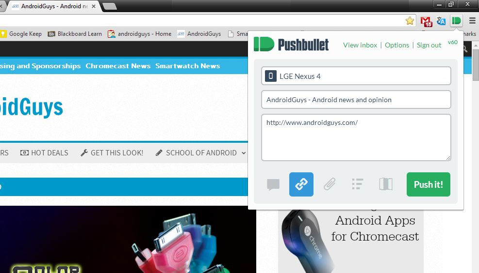 Pushbullet browser