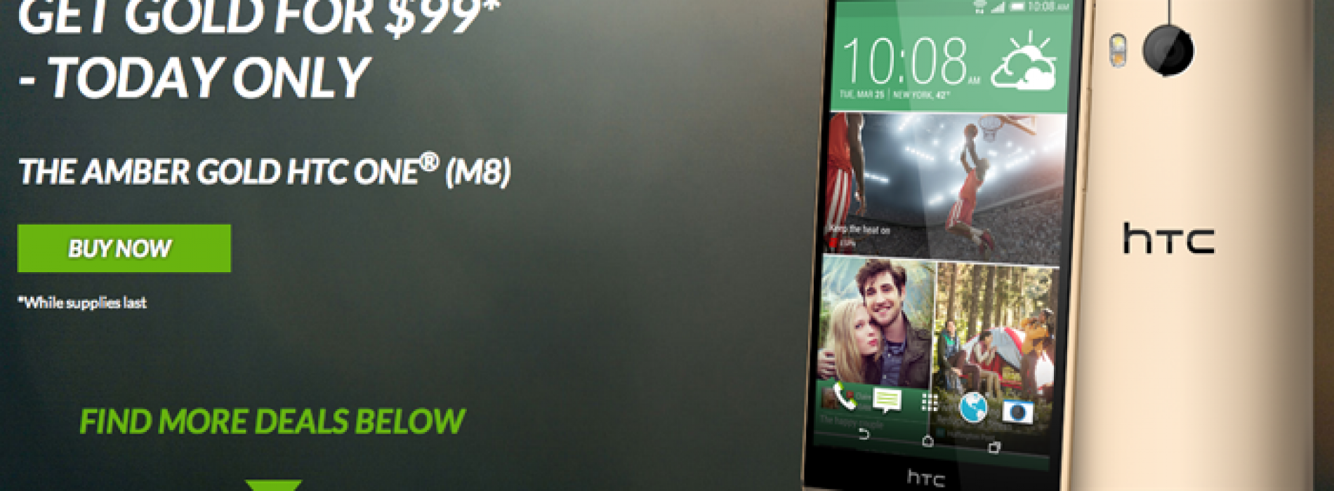 Get an Amber Gold HTC One (M8) for $99 today only