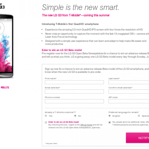 T-Mobile giving an LG G3 away each day until June 29