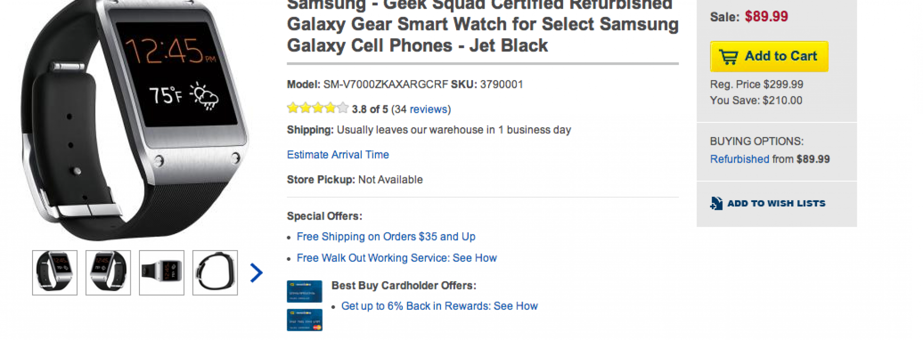 Grab Samsung's original Galaxy Gear for just $89 today