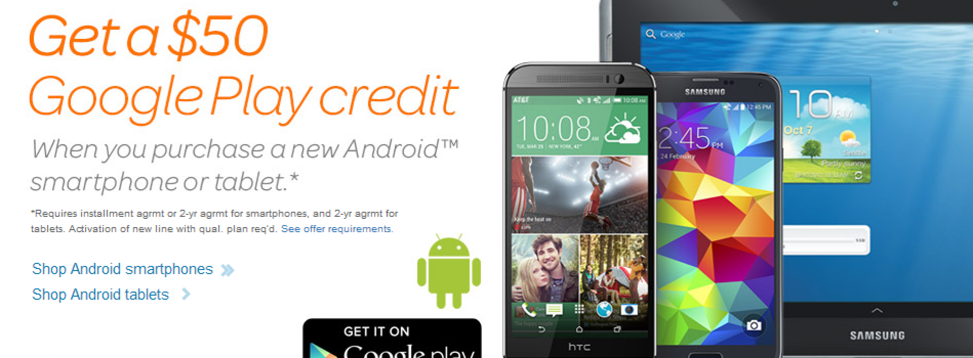 AT&T giving out $50 on Google Play with new lines of service