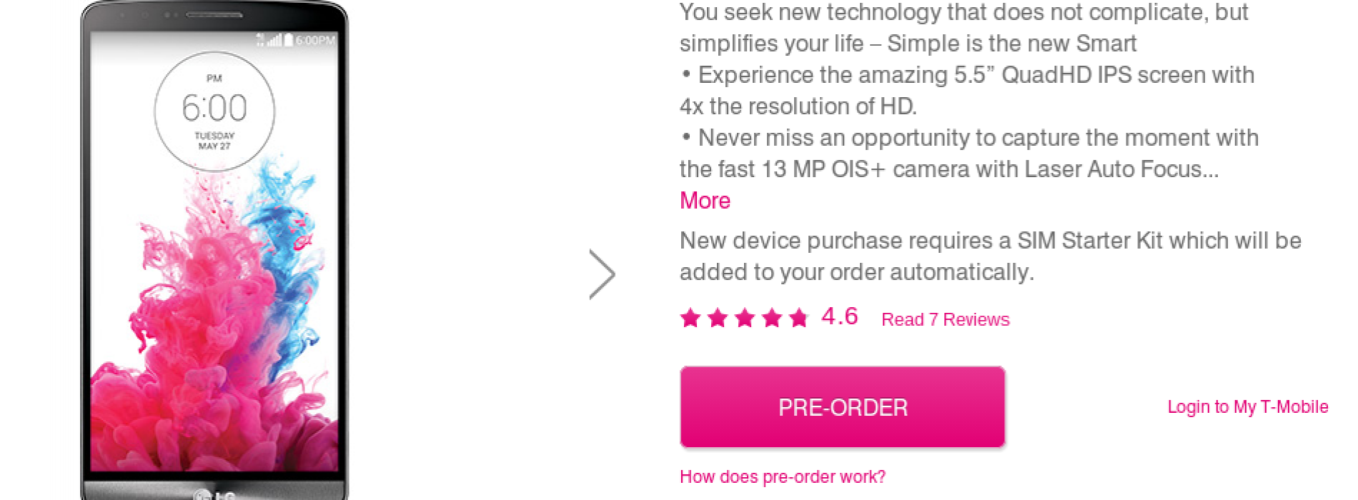 T-Mobile's LG G3 due July 16; pre-orders now available