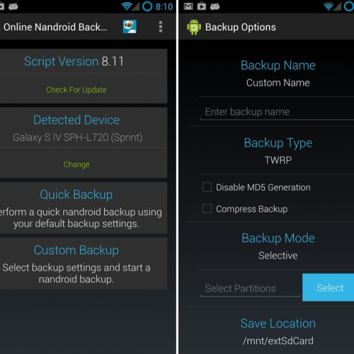 Perform a Nandroid backup online with this App