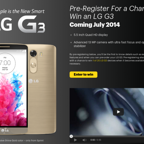 Sprint circles July 18 for LG G3 launch