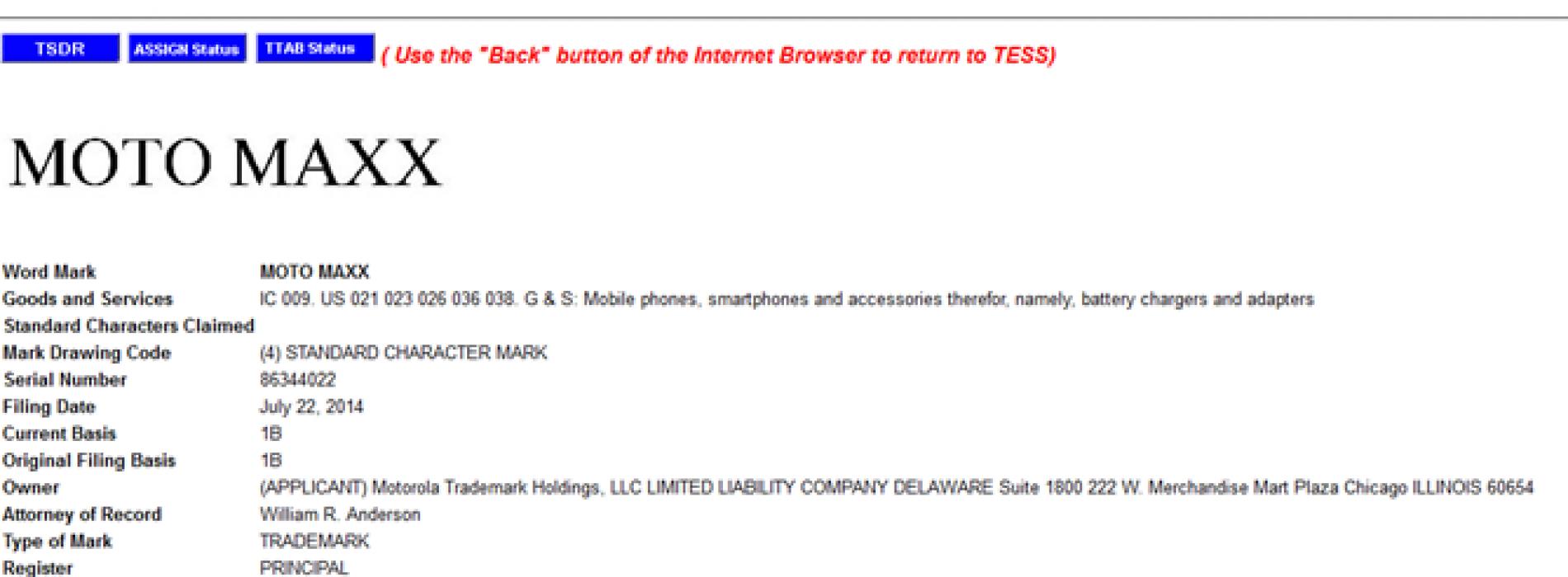 Motorola trademarks Moto Maxx name