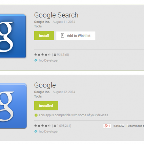 Google changes Google Search app name in Google Play Store