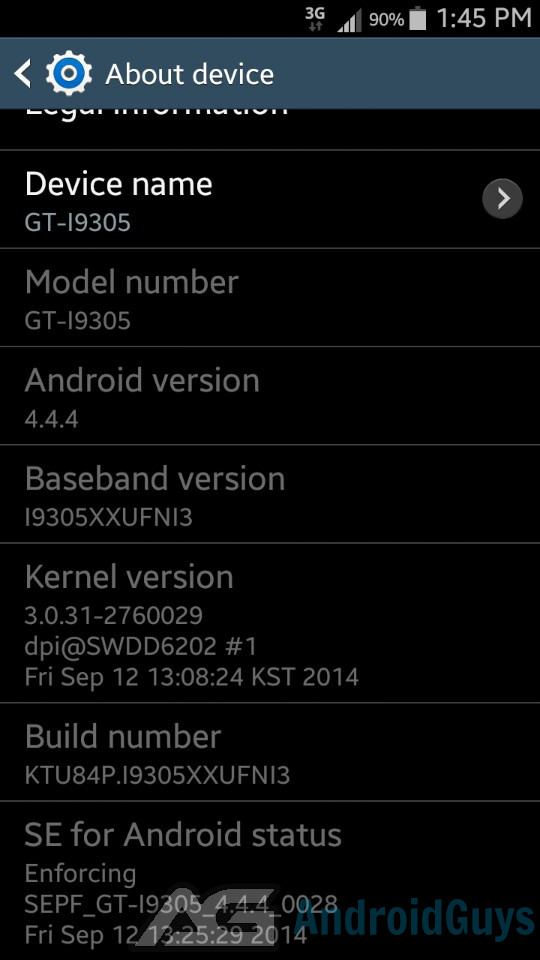 about device 4.4.4 GT-I9305