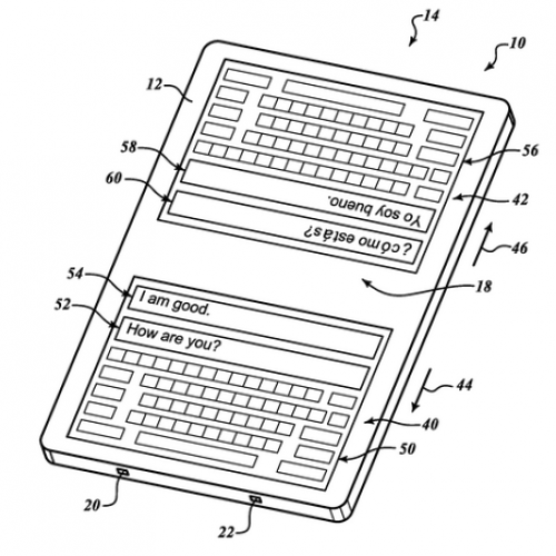 Google patent shows double keyboard for language translation