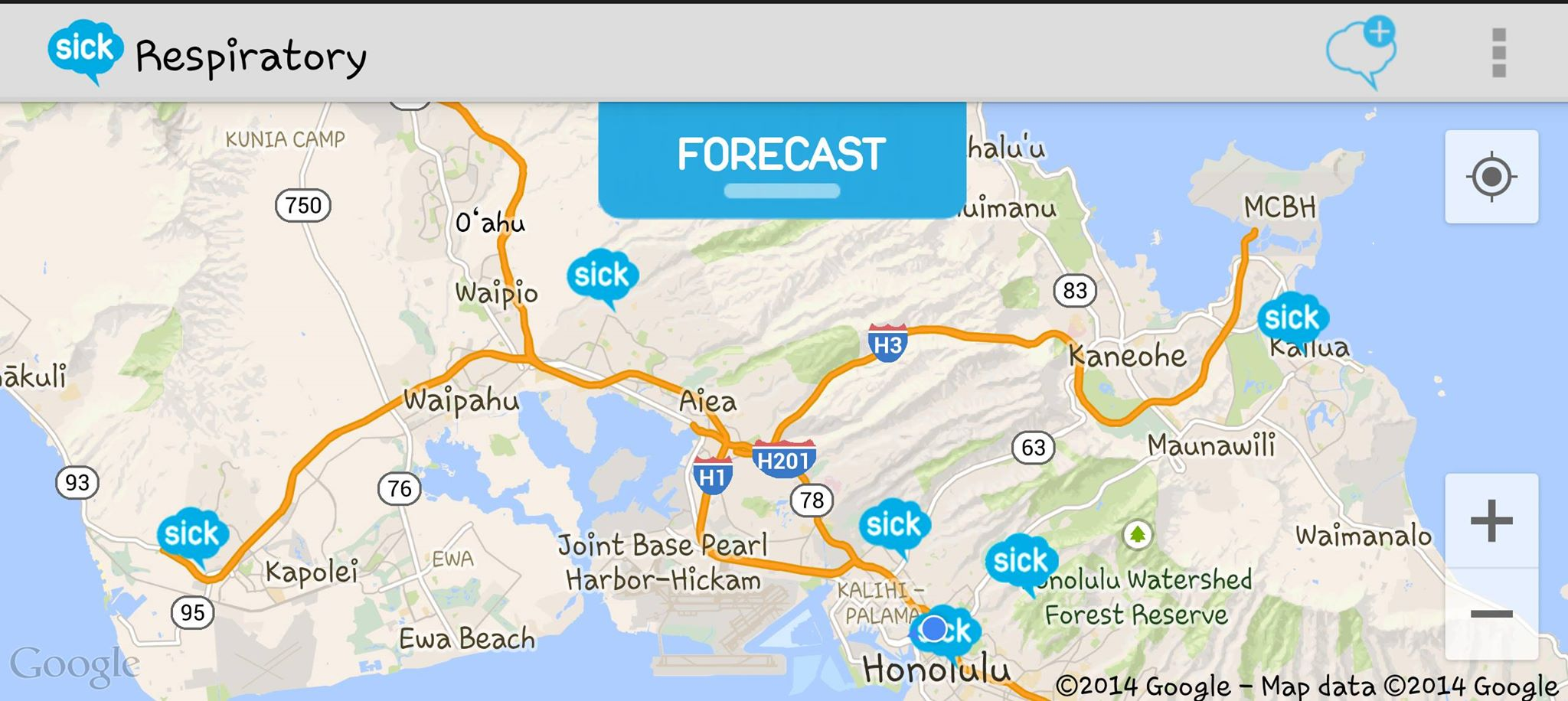 Sickweather Screenshot JAS