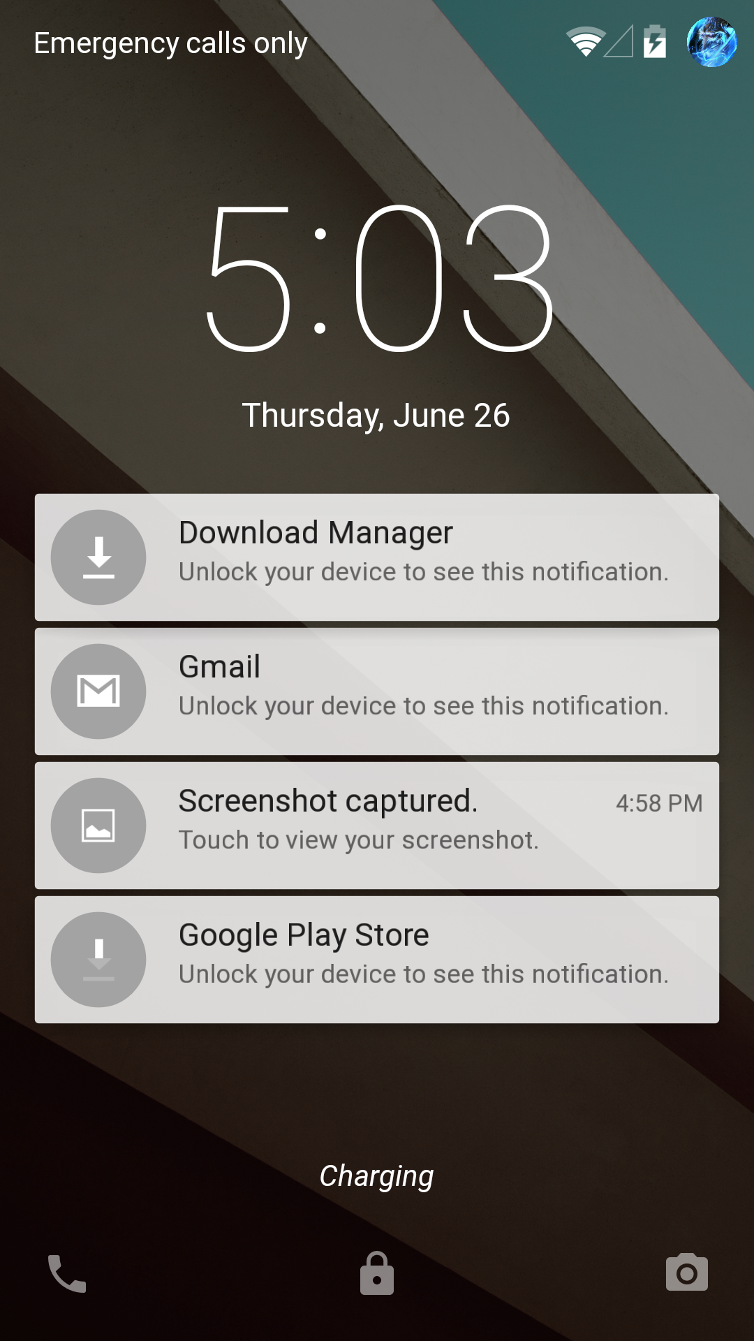 android 5.0 lock screen notifications