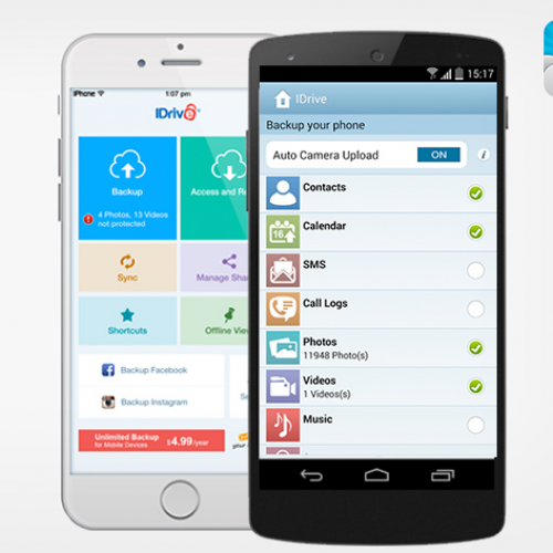 iDrive: Lifetime of unlimited encrypted mobile backup, $10