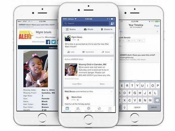 Amber Alerts will show up on Facebook News feeds