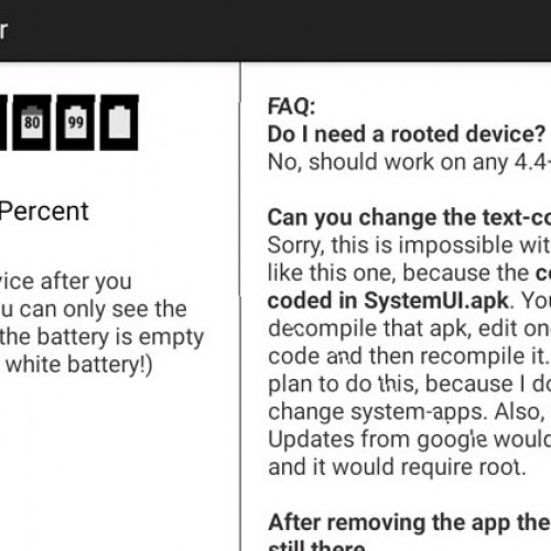 Get the battery percentage to display with this app (no root required)
