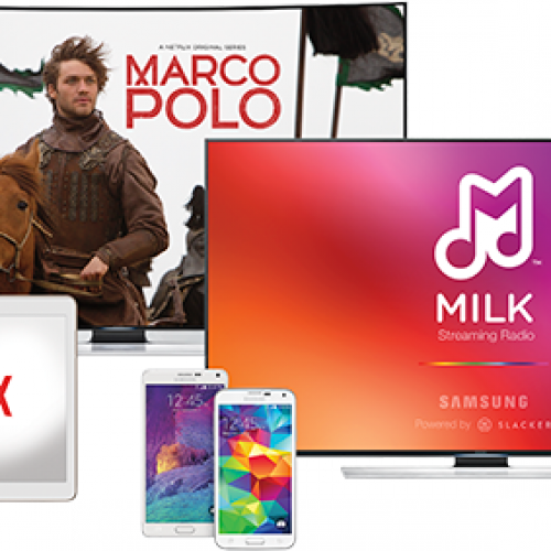 1 year free of Netflix, Milk Music with purchase of Samsung Galaxy S5, Note 4, Tab S, or 4k TV