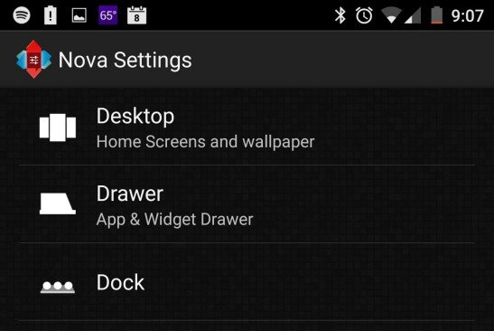Nova Launcher settings