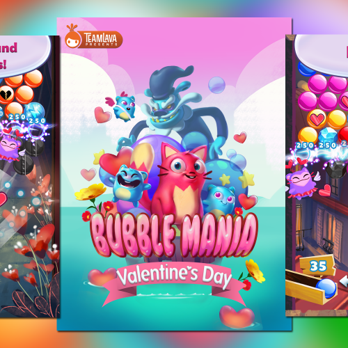 Bubble Mania Valentine's Day offers 300 levels of cute and colorful bobble popping