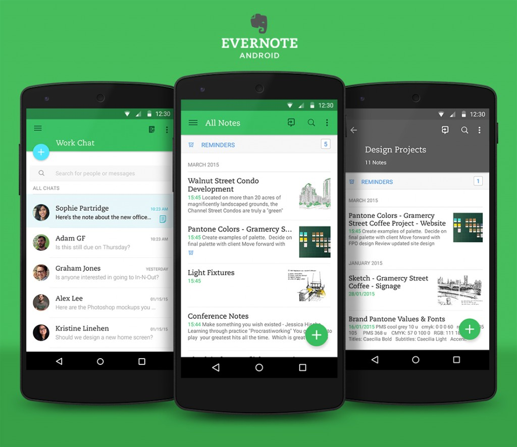 Evernote 39 s android app gets material design update for Best house design app for android