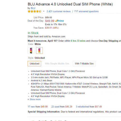 BLU Advance 4.0 unlocked Dual SIM phone is $50 today only through Amazon