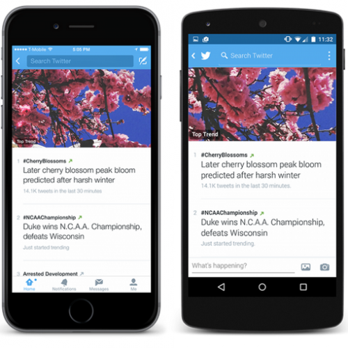 Twitter trends feature sees update on Android mobile app.