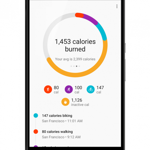 Google Fit updated with calories, distance and other features