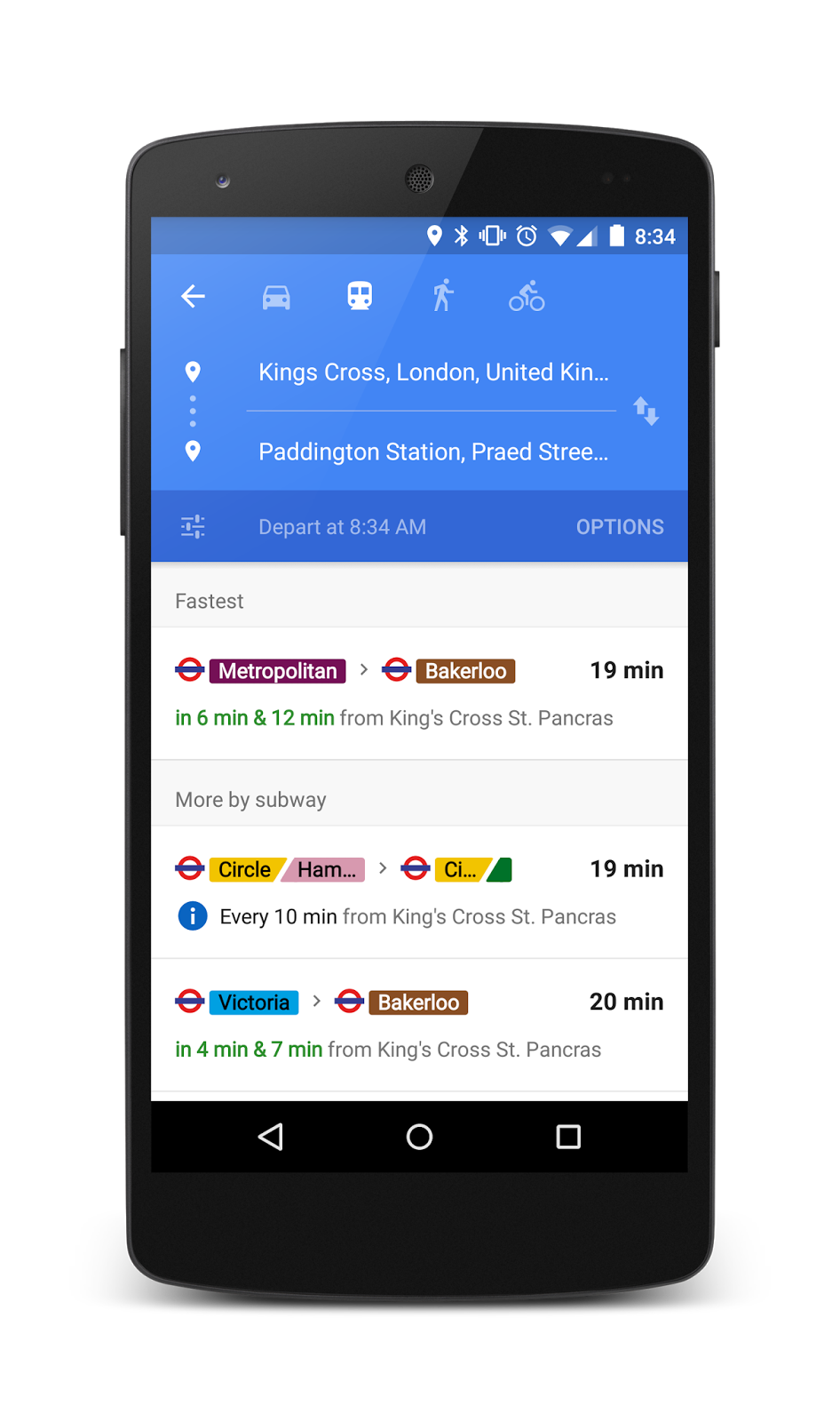 Google Maps adds at-a-glance real-time transit info